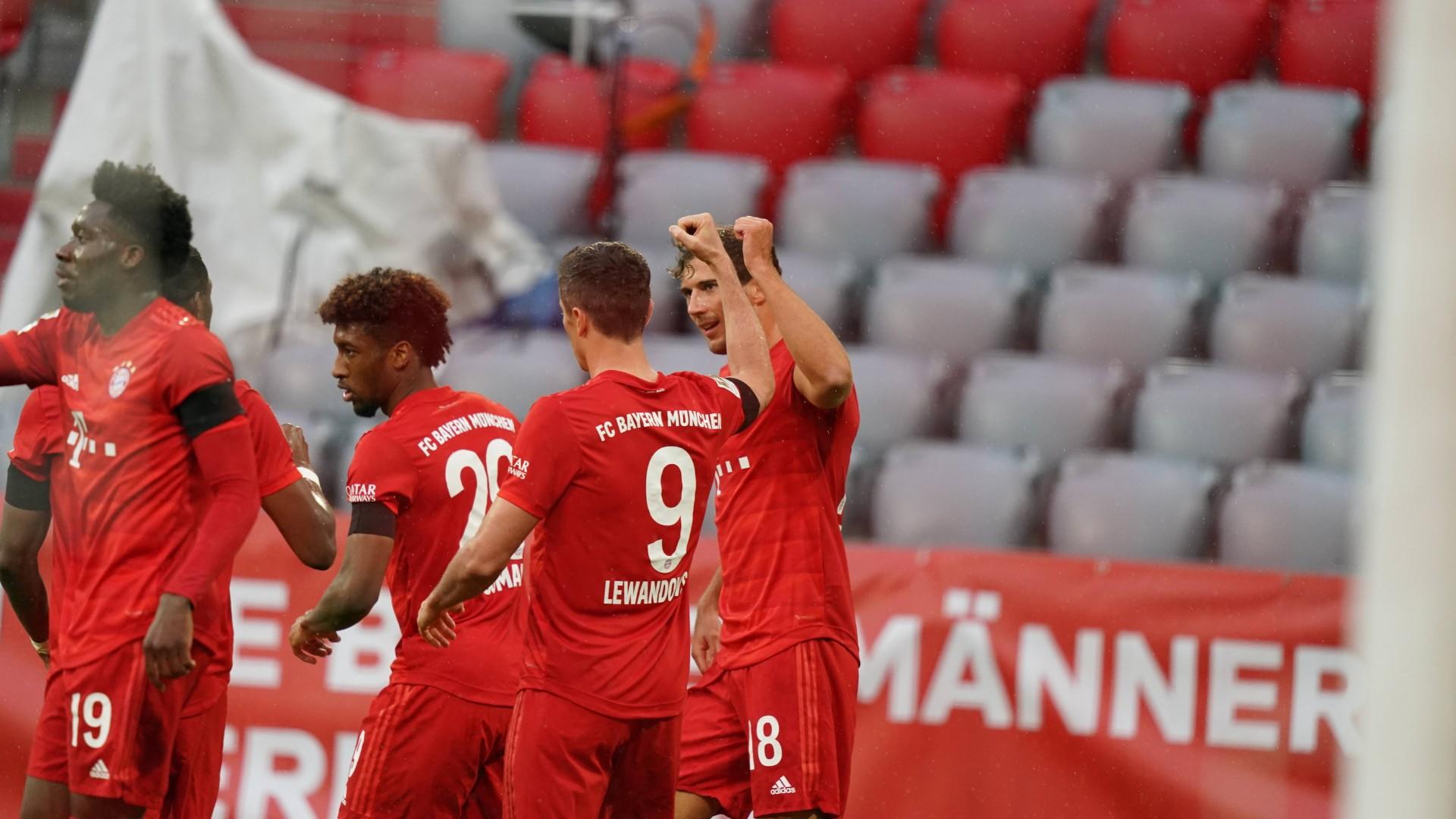 Selebrasi Pemain Munchen saat mencukur Frankfurt pada lanjutan Bundesliga, Sabtu (23/5/2020)