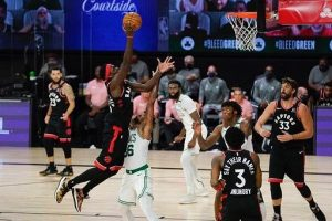 Pascal Siakam mencetak 23 poin dan 11 rebound melawan Boston Celtics gi game keempat semifinal NBA Wilayah Timur.